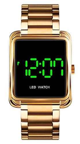 Reloj de pulsera digital para mujer de oro rosa, de acero inoxidable, elegante, para negocios, con fecha, LED, resistente al agua, moderno, plateado, negro, dorado, dorado, Pulsera