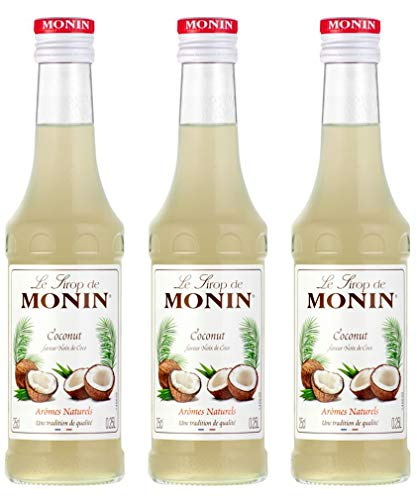 3x Monin Cocos Sirup, 250 ml Flasche