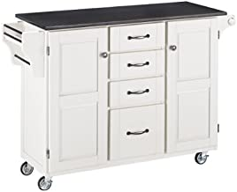 Create-a-Cart White 2 Door Cabinet Kitchen Cart with Black Granite Top by Home Styles