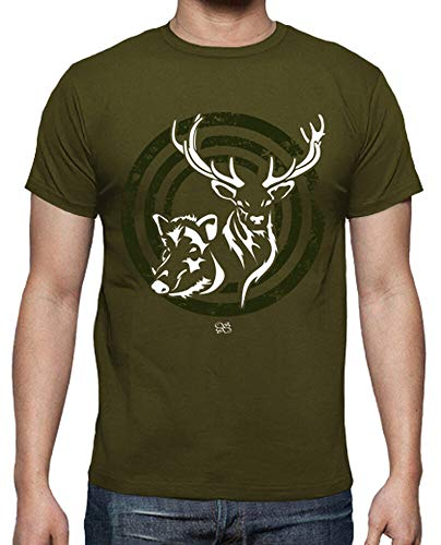 latostadora - Camiseta Ciervo Jabali para Hombre Army L