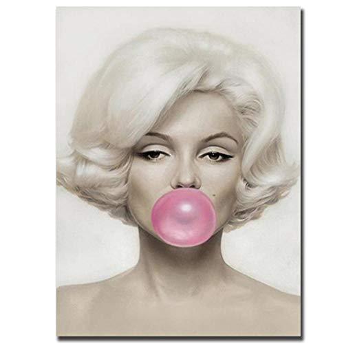 WJY Marilyn Monroe Pink Bubble Gum Poster Pintura Impresiones Actrices Famosas Carteles Cuadros de Pared Decoración de Regalo para la Sala de Estar en el hogar 40cm x60cm Sin Marco