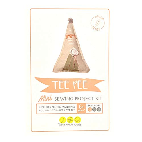 SewCraftCook Mini Tee Pee Sewing Project Kit for Children or Beginners Mini Size 6x4.5in (15x11cm) Perfect for Parties. Can be Hand Sewn or Machine Sewn, Project kit