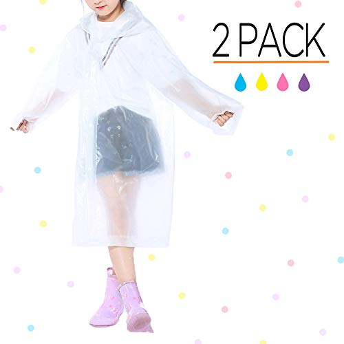 Opret Portable Kids Children Rain Poncho, Reusable Raincoat with Hoods and Sleeves, Durable, Lightweight and Perfect for Outdoor Activities (2 Pack White)