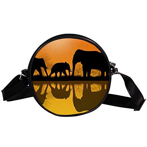 TIZORAX Handtasche mit Elefanten-Silhouette in Afrika, klein, kreisförmig, für Damen und Mädchen