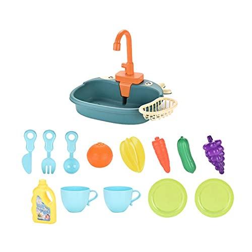 WANGQ Fregadero Cocina Juguete para Niños - Lavavajillas Juguete -Accesorios Cocina Juguetes - Juego De Cocina para Niños Juego De Juguetes para Casitas (Baterías No Incluidas)
