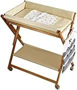 CWJ Small Bed for Look After Baby Without Bending Over  Baby Changing Table Wood Wheels  Folding Diaper Organizer Station  Table Height Adjustable Save Space Storage Desk White