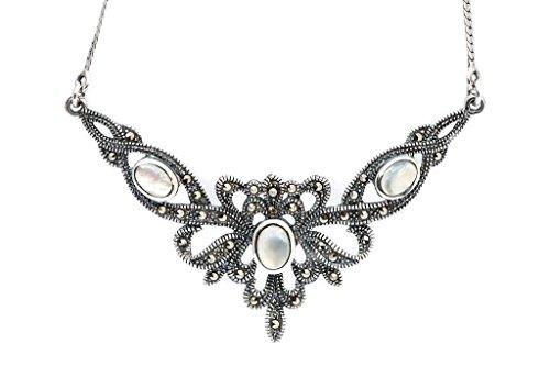 Windalf Mittelalter-Halskette ALADRIA 45 cm Trachten-Schmuck Perlmutt 925 Sterlingsilber