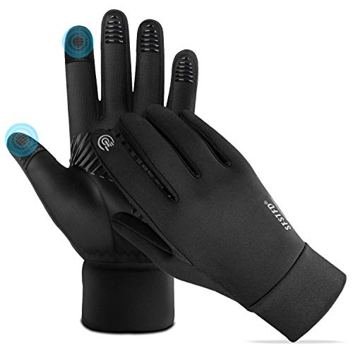 FoPcc Running Gloves for Men Women Compression Lightweight Touch Screen Cycling Windproof Anti-Slip Gloves Warm Liners for Winter (Medium)