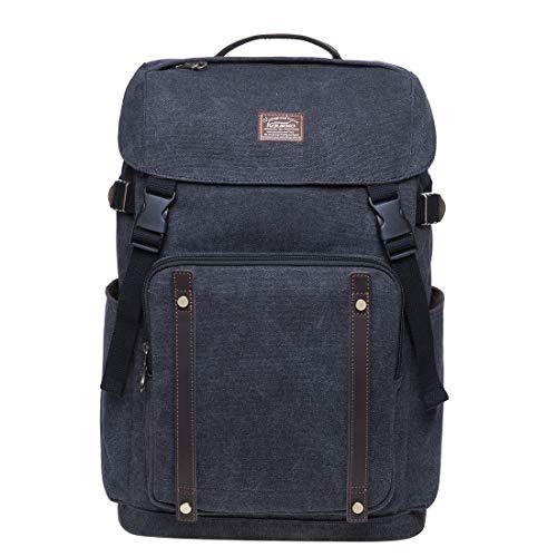 KAUKKO Unisex Rucksack Vintage Canvas Backpack mit 14 Zoll Laptopfach für Wandern Reisen 28 * 15 * 42 cm, 17.6 L (Schwarz JNL-KD02-2-03)