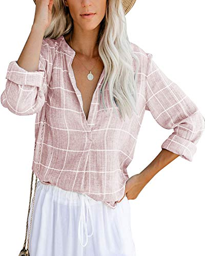 Damen Bluse Langarm Elegant Oberteil V-Ausschnitt Casual Tops Lose Langarmshirt Vintage Tunika Shirts(pk,l)