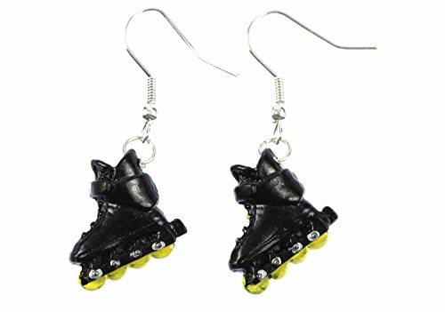 Miniblings Inlineskates Ohrringe Rollerskates Skates Rollschuhe Skater schwz - Handmade Modeschmuck I Ohrhänger Ohrschmuck versilbert