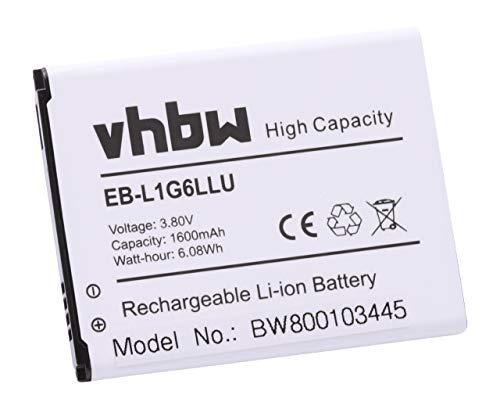 vhbw Li-Ion batteria 1600mAh (3.7V) compatibile con Samsung Galaxy S3 Neo telefono, smartphone sostituisce EB-L1G6LLU, EB-L1G6LLUC.