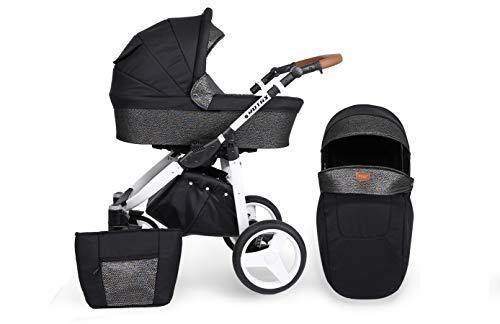 KUNERT Kinderwagen ROTAX Sportwagen Babywagen Autositz Babyschale Komplettset Kinder Wagen Set 2 in 1 (Schwarz mit Blitz, Rahmenfarbe: Weiß, 2in1)
