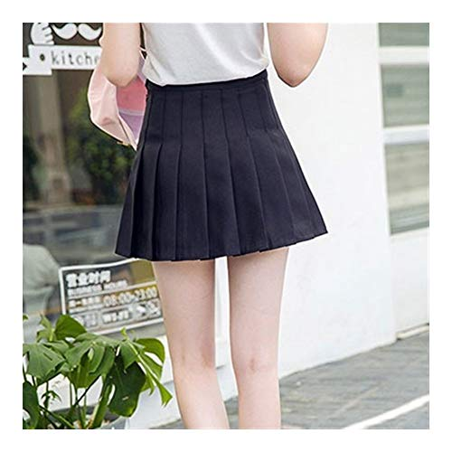 Mädchen Plissee Tennis-Rock Mit Hoher Taille Kurzes Kleid Mit Unterhose Schlank Schuluniform Frauen Teen Cheerleader Badminton Röcke Das Mädchen (Color : Black, Size : XL)