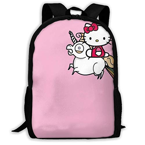 Mei-shop Hello-Kitty Personalizado con Unicornio Mochila Informal Mochila Escolar Mochila de Viaje Regalo
