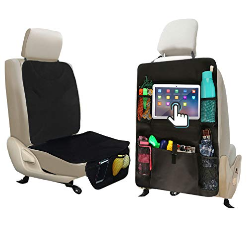 ALTITACO Car Seat Protector + X-Large Rear Back Seat Organizer with iPad and Tablet Holder,...