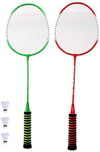RENFEIYUAN 2 unids Tenis bádminton Raqueta Set Niños palying bádminton Juego Accesorios para Deportes al Aire Libre (sin Bolas) Badminton Raqueta (Color : with 3pcs Balls)