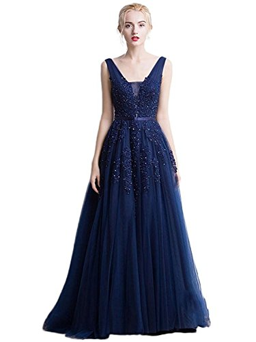 Babyonlinedress Sleeveless Ruched Waist Classy V-Neck Casual Cocktail Dress (Navy,16)