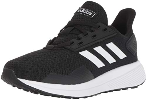 adidas Unisex-Kid's Duramo 9 Running Shoe, Black/White/Black, 4