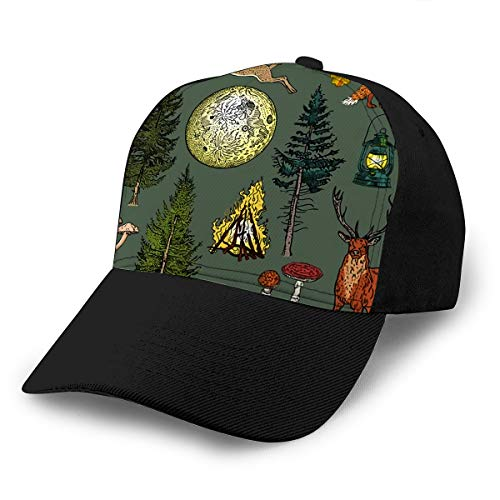 Baseball Cap Hats Adjustable Forest Adventure Magic Bonfire Camping Lamp Full Moon Spruce Fir Tree Mushrooms Fox