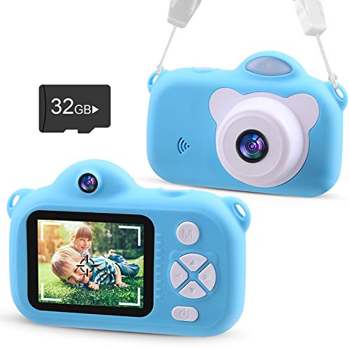 VACPOWER Kids Camera, Upgraded 1080P HD Toddler Camera for Kids, Kids Camera for Boys of 3 4 5 6 7 8 9 10 Year Old Age, Kids Digital Camera with 32G SD Card (Blue)