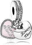 MsRosy Colgante colgante de corazón para pulseras de plata de...