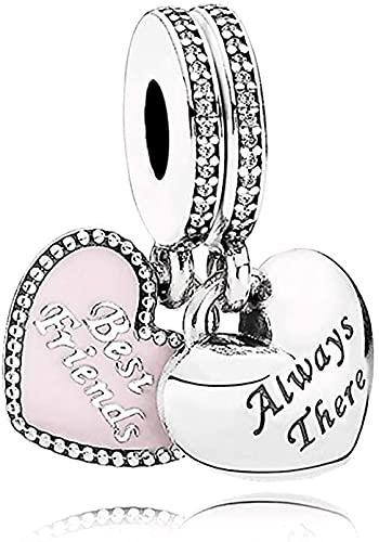 MsRosy Colgante colgante de corazón para pulseras de plata de ley Always There para regalo de cumpleaños
