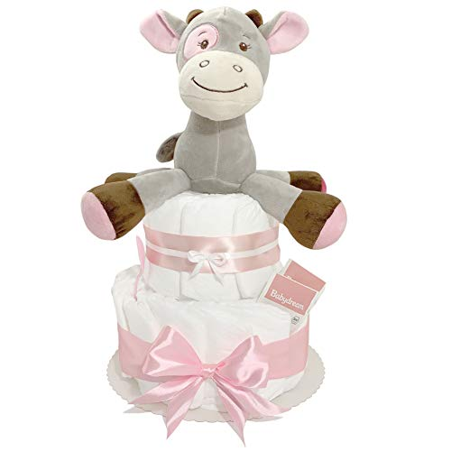 Pandawal Windeltorte Mädchen Pink/Rosa mit Spieluhr süße Kuh Kuscheltier Ideal als Geschenk zur Geburt für Babyparty/Baby Shower Deko Spielzeug Neugeborene
