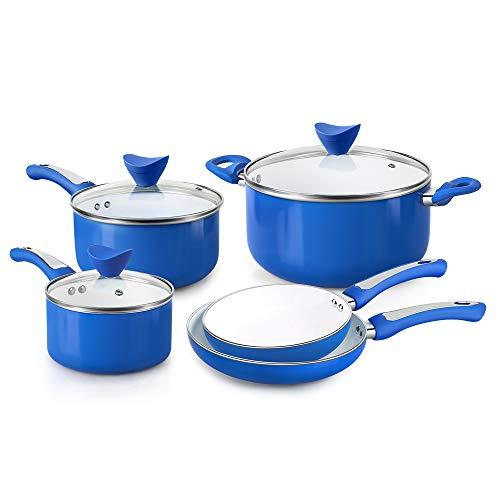 FGY - Set di pentole antiaderenti per gas, elettrico, ceramica, induzione (blu, 8 pezzi)