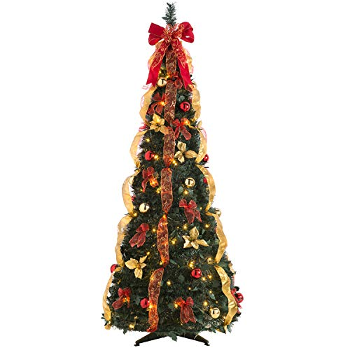 WeRChristmas Pre-Decorated Holly Pop-Up Christmas Tree, 150 Warm White LED, Red & Gold, 6 feet/1.8 m