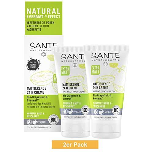 SANTE Natuurcosmetica Matterende 24H crème, gezichtscrème voor gemengde huid, verfelt de poriën, matte huid, biologische extracten, veganistisch, 2 x 50 ml dubbelpak