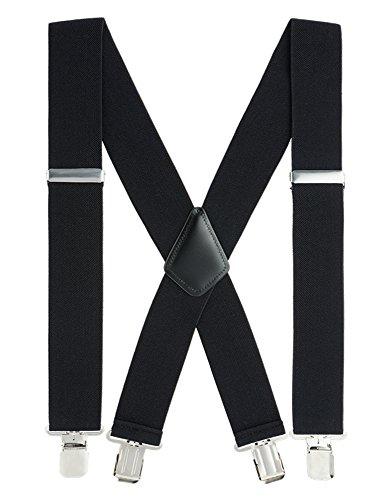 Mens Suspenders X-Back 2'' Wide Adjustable Elastic Strong Clips Suspenders by Grade Code