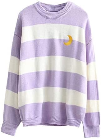 Packitcute Striped Knitted Sweater Long Sleeve Moon Embroidery Cute Sweaters for Women Light product image