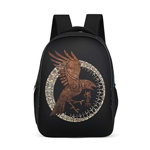 Mode Beiläufig Rucksack Ethnisch Wikinger Golden Rabe Runen Totem Druck Schultertaschen Odin Krähe Sonne Tagesrucksack für Reisen Wandern Schultasche Büchertasche OneSize