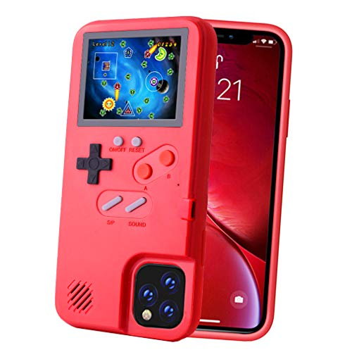 POKPOW Handheld Game Console Phone Case for iPhone XR Case with Built in 36 Retro Games Compatible with iPhone XR Anti-Scratch Shock Absorption Cover (Red)