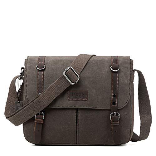 TRP0426 Troop London Heritage Canvas Leather Messenger Bag, Canvas Leather Satchel, Tablet Friendly Shoulder Bag (Olive)
