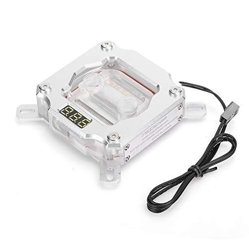 T opiky Bloque de Agua de CPU de computadora, Bloque de enfriamiento de Agua de PC Cabezal de enfriamiento de líquido con Pantalla de Temperatura para Aura sincronización