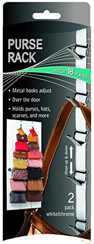 Jokari 06436 - Over Door Handbag Organiser - Handtaschenhalter über der Tür - Hängender Geldbeutel-Organiser mit 8 verstellbaren metall Haken - Weiß - 2 Stücke