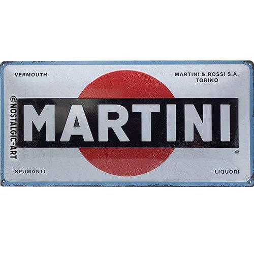 Nostalgic-Art MARTINI – Logo White – Geschenk-Idee für Vermouth-Fans Retro Blechschild, aus Metall, Vintage-Design zur Dekoration, 25 x 50 cm
