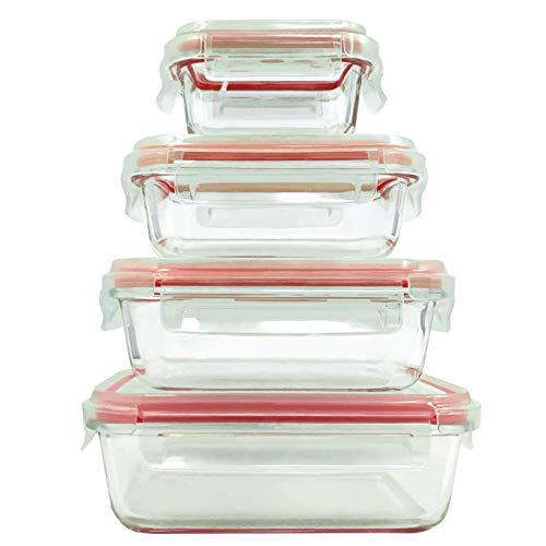 Home Fleek - Envases de Vidrio para Alimentos   Herméticos   Sin BPA (Set 4, Rectangular Rojo)