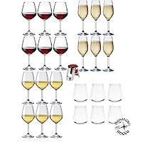 rocco bormioli - servizio 6 persone, set 25 pz calici vino bianco, rosso e flute da champagne & prosecco mod divino + 6 bicchieri vetro trasparente mod uno inalto + tappo spumante acciaio cromato