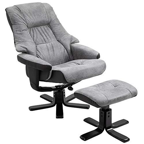 HOMCOM Fabric Recliner Sofa Armchair with Footstool Swivel Sofa Grey