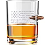 2nd Amendment American Flag - .308 Real Solid Copper Projectile Hand Blown Old Fashioned Whiskey Rocks Glass