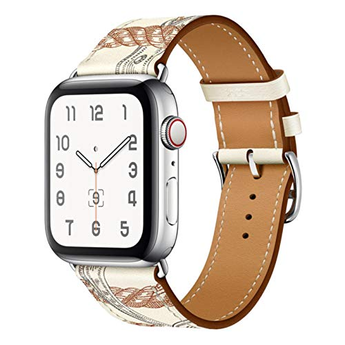 Correa de cuero de vaca para correas de Apple Watch 42 mm 44 mm para Iwatch Series 6 5 4 3 2 1 SE Accesorios Bucle 38 mm Reemplazo de pulsera 40 mm S-Printed Blanco, 42 o 44 mm