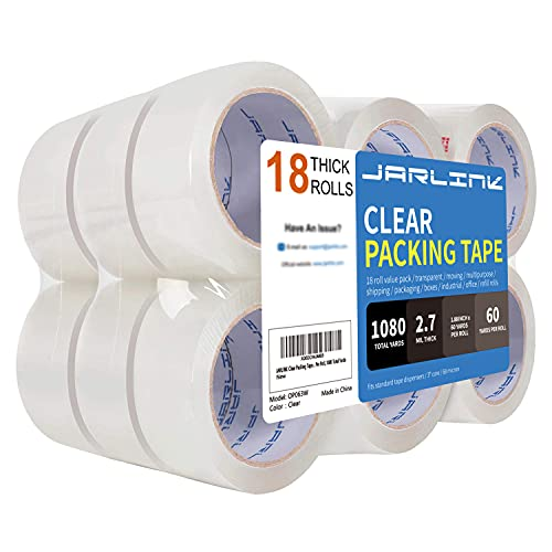 JARLINK Clear Packing Tape (18 Rolls), Heavy Duty Packaging Tape for Shipping Packaging Moving Sealing, 2.7mil Thick, 1.88 inches Wide, 60 Yards Per Roll, 1080 Total Yards