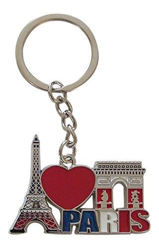 Schlüsselanhänger,-Schmuckstück tasche Eiffelturm und Arc de Triomphe, Frankreich, Paris aus Metall. B2.