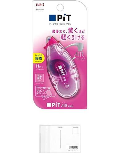 トンボ鉛筆 テープのり ピットエアーミニ つめ替えタイプ テープ幅:6mm PN-CASC80 ピンク 【× 2 個 】 + 画材屋ドットコム ポストカードA