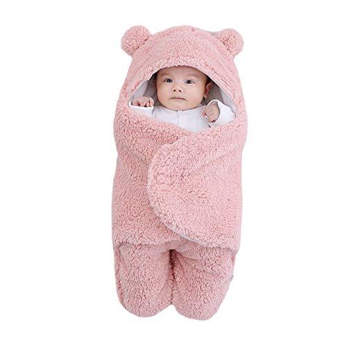 WOIA Saco de Dormir para bebé, Forro Polar Esponjoso Ultra Suave, Manta de recepción para recién Nacidos, Infantil, Rosa, 6M