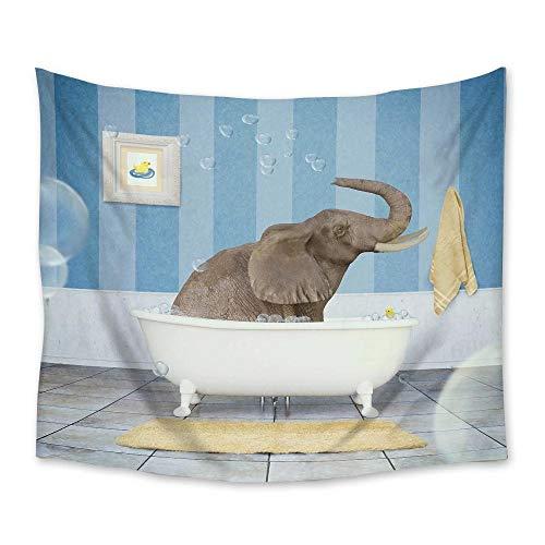 Animal de dibujos animados elefante mandala de baño tapiz de poliéster tapiz colgante de pared alfombra de yoga para la decoración del dormitorio del hogar 150X200CM