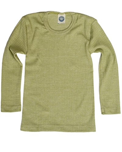 Cosilana, Kinder Unterhemd Langarm, 45% KBA Baumwolle, 35% kbT Wolle, 20% Seide (128, Grün meliert)